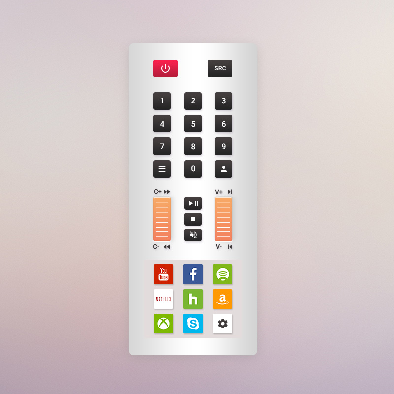 Brainstorming Exercise - Mockup 1: Scroll / Touch Area TV Remote